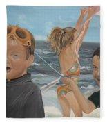 Beach - Children Playing - Kite Fleece Blanket