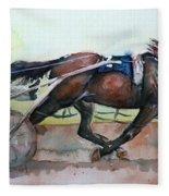 Racehorse Painting In Watercolor Let's Roll Fleece Blanket