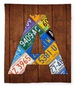 Letter A Alphabet Vintage License Plate Art Fleece Blanket