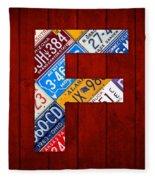 Letter F Alphabet Vintage License Plate Art Fleece Blanket