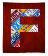 Letter F Alphabet Vintage License Plate Art Fleece Blanket
