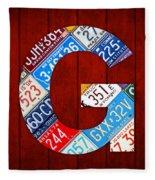 Letter G Alphabet Vintage License Plate Art Fleece Blanket