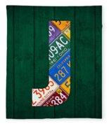 Letter J Alphabet Vintage License Plate Art Fleece Blanket