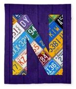 Letter N Alphabet Vintage License Plate Art Fleece Blanket