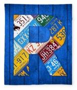 Letter R Alphabet Vintage License Plate Art Fleece Blanket