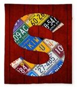 Letter S Alphabet Vintage License Plate Art Fleece Blanket