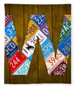 Letter W Alphabet Vintage License Plate Art Fleece Blanket