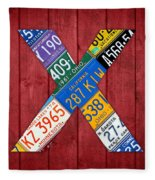 Letter X Alphabet Vintage License Plate Art Fleece Blanket