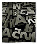 Letters And Numbers Gray Tones Fleece Blanket
