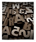 Letters And Numbers Sepia 2 Fleece Blanket