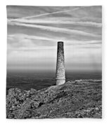 Levant To Pendeen View Black And White Fleece Blanket