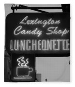 Lexington Candy Shop In Black And White Fleece Blanket