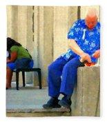 L'homme Orange Quiet Corner On St Catherine Street Downtown Montreal City Scene Carole Spandau Fleece Blanket