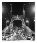 Liberty Bridge At Night Fleece Blanket