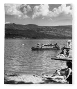 Liberty Lake Summer Leisure In 1940 Fleece Blanket