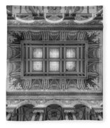 Library Of Congress Main Hall Ceiling Bw Fleece Blanket