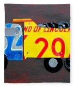 License Plate Art Dump Truck Fleece Blanket