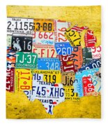 License Plate Art Map Of The United States On Yellow Board Fleece Blanket
