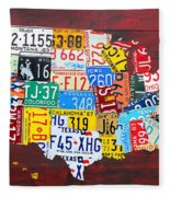 License Plate Art Map Of The Usa Edition 14 By Design Turnpike Fleece Blanket by Design Turnpike