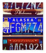 License Plate Fleece Blanket