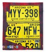 License Plate Map Of Arizona By Design Turnpike Fleece Blanket by Design Turnpike
