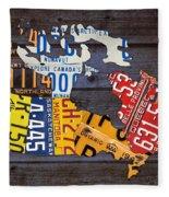 License Plate Map Of Canada Fleece Blanket