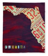 License Plate Map Of Florida By Design Turnpike Fleece Blanket by Design Turnpike