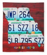 License Plate Map Of Missouri - Show Me State - By Design Turnpike Fleece Blanket