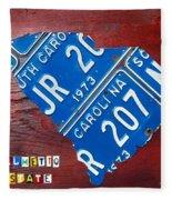 License Plate Map Of South Carolina By Design Turnpike Fleece Blanket