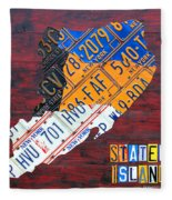 License Plate Map Of Staten Island New York Nyc Fleece Blanket