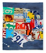 License Plate Map Of The United States - Small On Blue Fleece Blanket
