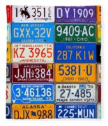 License Plates Of The Usa - Our Colorful American History Fleece Blanket