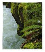 Lichen Covered Rocks With Stream In Oregon Fleece Blanket