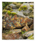 Lichens And Moss In Glen Strathfarrar Fleece Blanket