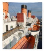 Life Boats 01 Queen Mary Ocean Liner Port Long Beach Ca Fleece Blanket