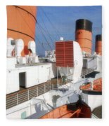 Life Boats 02 Queen Mary Ocean Liner Port Long Beach Ca Fleece Blanket