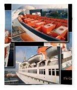 Life Boats Collage Queen Mary Ocean Liner Long Beach Ca Fleece Blanket