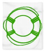 Life Preserver In Green And White Fleece Blanket