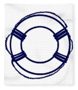 Life Preserver In Navy Blue And White Fleece Blanket
