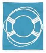 Life Preserver In White And Turquoise Blue Fleece Blanket