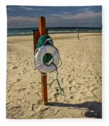 Life Preserver On The Beach In Pentwater Michigan Fleece Blanket