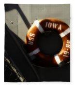 Life Ring Uss Iowa Battleship Sepia Fleece Blanket