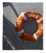Life Ring Uss Iowa Battleship Fleece Blanket