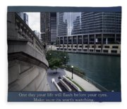 Life Will Flash Before Your Eyes Blue Background Fleece Blanket
