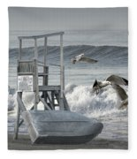 Lifeguard Station With Flying Gulls At A Lake Huron Beach Fleece Blanket