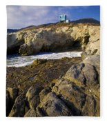 Lifeguard Tower On The Edge Of A Cliff Fleece Blanket