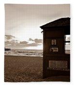 Lifeguard Tower Sunrise In Sepia Fleece Blanket