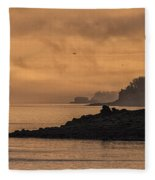 Lifting Fog At Sunrise On Campobello Coastline Fleece Blanket
