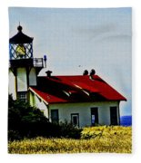 Light House At Midday Fleece Blanket