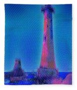 Light House At Sunset 1 Fleece Blanket